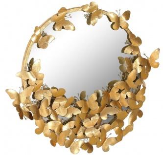 Casa Padrino Designer Spiegel Gold 73 x 5 x H. 70 cm - Moderner pulverbeschichteter Metall Wandspiegel mit dekorativen Schmetterlingen - Deko Accessoires