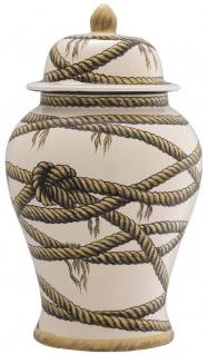 Casa Padrino Luxus Porzellan Vase Beige Ø 23 x H. 43 cm - Runde Blumenvase mit Deckel - Deko Accessoires