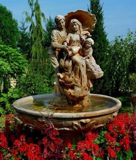 Casa Padrino Jugendstil Gartenbrunnen Braun / Grau Ø 95 x H. 164 cm - Barock & Jugendstil Gartendeko Springbrunnen