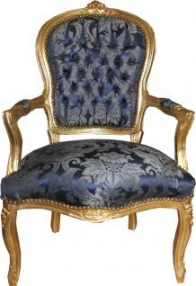 Casa Padrino Barock Salon Stuhl Royal Blau Muster / Gold - Möbel Lounge Hotel