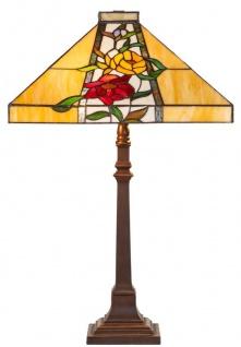 Casa Padrino Luxus Tiffany Tischleuchte Braun / Mehrfarbig 40 x 40 x H. 62 cm - Tiffany Lampe mit Blumendesign