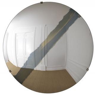 Casa Padrino Luxus Spiegel mit blauem Streifen Ø 119 cm - Runder konkaver Wandspiegel mit Wandhalterung - Luxus Kollektion
