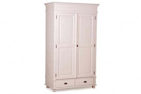 Casa Padrino Landhausstil Schrank Antik Weiß 120 x 60 x H. 250 cm - Zweitüriger Schrank mit 2 Schubladen im Landhausstil - Vorschau 3