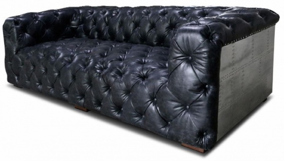 Casa Padrino Chesterfield Echtleder 3er Sofa Vintage Schwarz / Silber / Braun 240 x 100 x H. 70 cm - Wohnzimmer Leder Sofa mit Aluminium Verkleidung - Chesterfield Möbel