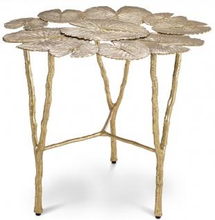 Casa Padrino Designer Messing Beistelltisch Gold Ø 57, 5 x H. 51, 5 cm - Wohnzimmer Möbel - Hotel Möbel - Luxus Qualität
