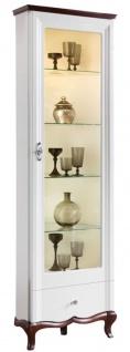 Casa Padrino Luxus Art Deco Vitrinenschrank Weiß / Dunkelbraun 64 x 52, 1 x H. 209, 5 cm - Beleuchteter Wohnzimmerschrank mit Glastür und Schublade - Wohnzimmermöbel