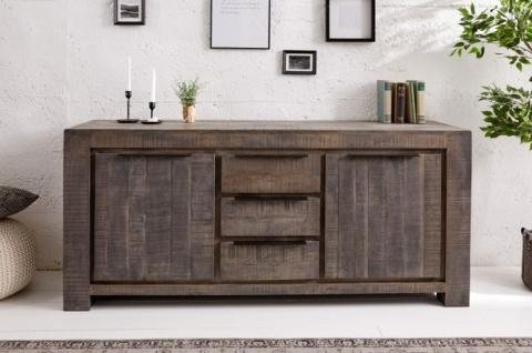 Casa Padrino Landhausstil Sideboard Grau 175 x 50 x H. 76 cm - Massivholz Schrank mit 2 Türen und 3 Schubladen - Wohnzimmer Möbel - Vorschau 2