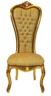 Casa Padrino Barock Thron Stuhl Queen Anne Gold Muster / Gold mit Bling Bling Glitzersteinen - Hochlehnstuhl