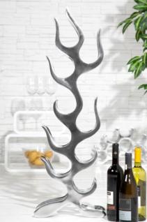 Designer Weinregal für 9 Flaschen poliertes Aluminium Höhe: 93 cm, Breite: 27 cm, Tiefe: 14 cm - Flaschenhalter, Flaschenablage Flammen Flames - Vorschau 3