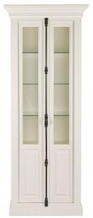 Casa Padrino Landhausstil Vitrine Weiß 95 x 45 x H. 242 cm - Vitrinenschrank mit 2 Türen - Massivholz Schrank - Landhausstil Möbel