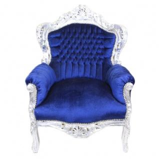 Casa Padrino Barock Sessel King Royalblau / Silber - Barock Möbel Antik Stil