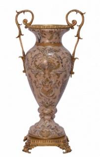 Casa Padrino Luxus Porzellan Vase mit 2 Griffen 23, 2 x 15, 8 x H. 47, 1 cm - Antik Stil Vase