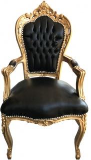 Casa Padrino Barock Esszimmerstuhl Schwarz / Gold Lederoptik mit Armlehnen - Esszimmer Stuhl Möbel