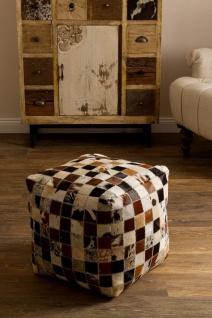 Casa Padrino Luxus Sitzwürfel Mehrfarbig 40 x 40 x H. 40 cm - Fell Sitzhocker im Patchwork Design - Vorschau 4