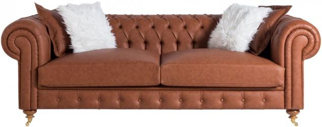 Casa Padrino Luxus Chesterfield Sofa Braun 240 x 100 x H. 78 cm - Edles Wohnzimmer Sofa - Chesterfield Möbel