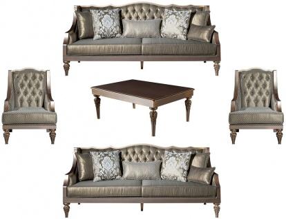 Casa Padrino Luxus Barock Wohnzimmer Set Grün / Silber / Kupfer / Gold - 2 Sofas & 2 Sessel & 1 Couchtisch - Wohnzimmer Möbel im Barockstil - Edel & Prunkvoll