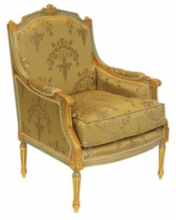 Casa Padrino Barock Lounge Thron Sessel Empire Gold Muster - Ohren Sessel - Ohrensessel Tron Stuhl