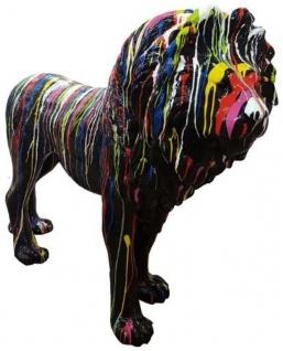 Casa Padrino Designer Dekofigur Löwe Schwarz / Mehrfarbig 190 x H. 140 cm - Riesige Lebensgroße Skulptur - Gartendeko