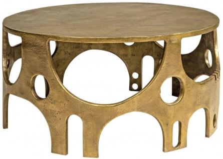 Casa Padrino Designer Aluminium Couchtisch Bronzefarben Ø 70, 5 x H. 34 cm - Runder Wohnzimmertisch - Wohnzimmer Möbel - Luxus Kollektion