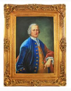 Handgemaltes Barock Öl Gemälde Herr Gold Prunk Rahmen 130 x 100 x 10 cm - Massives Material - Vorschau