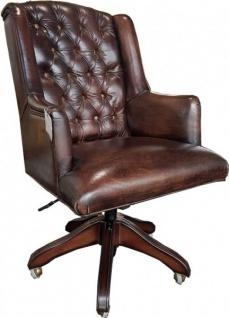 Casa Padrino Luxus Echtleder Chefsessel Büro Stuhl Dunkelbraun Drehstuhl Schreibtisch Stuhl - Chefbüro