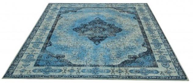 Casa Padrino Vintage Wohnzimmer Teppich Blau 160 x 240 cm - Rechteckiger Baumwoll Teppich - Wohnzimmer Deko Accessoires