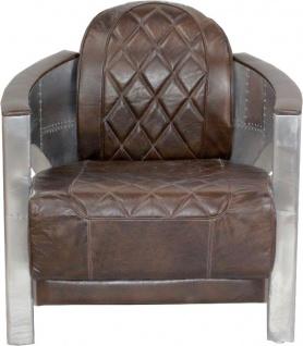 Casa Padrino Art Deco Aluminium Sessel Echtleder Braun Flight Seat - Club Sessel - Lounge Sessel - Flugzeug Flieger Möbel