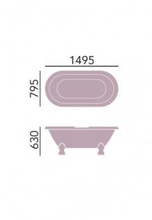 Casa Padrino Jugendstil Badewanne freistehend Weiß Modell He-Bab 1495mm - Freistehende Retro Antik Badewanne Barock Stil - Vorschau 2