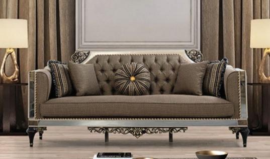 Casa Padrino Luxus Barock Sofa Braun / Weiß / Schwarz / Gold - Prunkvolles Wohnzimmer Sofa mit dekorativen Kissen - Barock Wohnzimmer Möbel