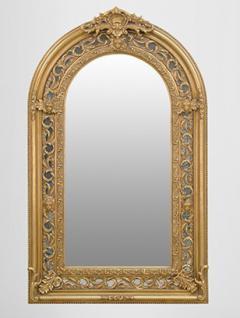 Großer prunkvoller Barock Spiegel Halbrund Gold 185 x 110 cm
