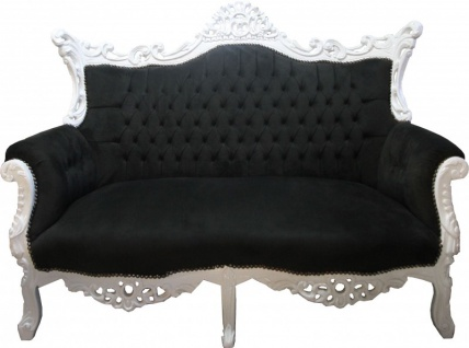 Casa Padrino Barock 2-er Sofa Master Schwarz / Weiss - Antik Stil Möbel