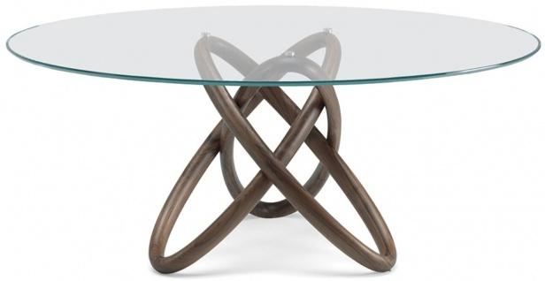 Casa Padrino Designer Esstisch Braun - Verschiedene Tischgrößen - Moderner runder Esszimmertisch mit Glasplatte - Esszimmer Möbel - Luxus Qualität - Made in Italy