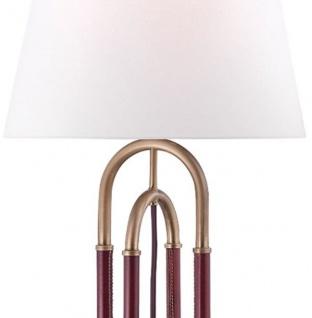 Casa Padrino Luxus Tischleuchte Antik Messing / Braun / Weiß Ø 40, 6 x H. 73, 7 cm - Edle Metall Leuchte mit hochwertigem Leder und Leinen Lampenschirm - Luxus Qualität - Vorschau 2