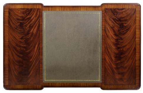 Casa Padrino Luxus Barock Schreibtisch Dunkelbraun / Silber / Grau / Gold - Handgefertigter Mahagoni Schreibtisch mit 5 Schubladen - Barock Büro Möbel - Vorschau 3