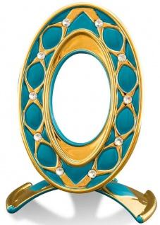 Casa Padrino Barock Bilderrahmen Türkis / Gold 26 x 16 x H. 36 cm - Prunkvoller Keramik Bilderrahmen mit Swarovski Kristallglas