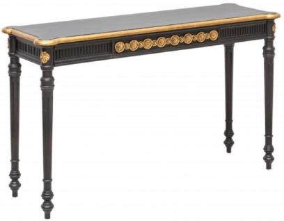 Casa Padrino Barock Konsole Schwarz / Gold 125 x 40 x H. 75, 5 cm - Antik Stil Konsolentisch - Wohnzimmer Möbel im Barockstil - Barock Möbel