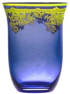 Casa Padrino Luxus Barock Wasserglas 6er Set Blau / Gold Ø 9 x H. 12 cm - Handgefertigte und handbemalte Wassergläser - Biergläser - Weingläser - Hotel & Restaurant Accessoires - Luxus Qualität