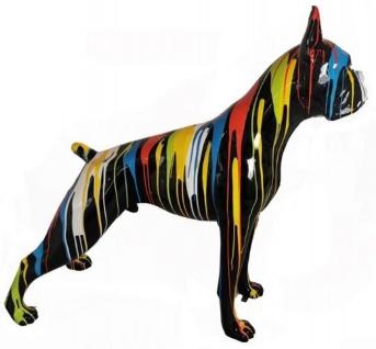 Casa Padrino Designer Dekofigur Boxer Hund Schwarz / Mehrfarbig 190 x H. 173 cm - Riesige Wetterbeständige Deko Skulptur - Gartendeko Tierfigur