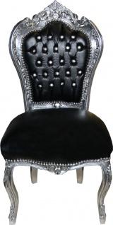 Casa Padrino Barock Esszimmer Stuhl Schwarz Lederoptik / Silber mit Bling Bling Glitzersteinen - Limited Edition