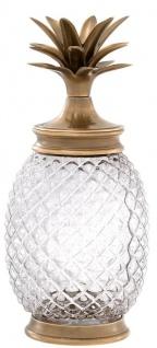 Casa Padrino Luxus Vorratsglas mit Deckel im Ananas Design Vintage Messingfarben Ø 16, 5 x H. 36, 5 cm - Designer Deko Accessoires