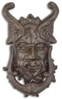 Casa Padrino Jugendstil Gusseisen Türklopfer Teufelskopf Braun 19, 9 x H. 33, 2 cm - Barock & Jugendstil Deko Accessoires