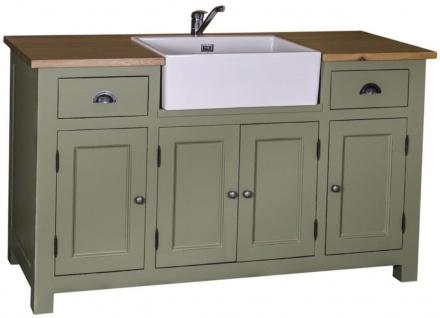 Casa Padrino Landhausstil Waschbeckenschrank Grün / Naturfarben 155 x 65 x H. 90 cm - Waschtisch mit 4 Türen und 2 Schubladen