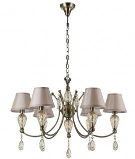 Casa Padrino Barock Kristall Kronleuchter Antik Bronze / Champagnerfarben / Grau Ø 80 x H. 55 cm - Prunkvoller Kronleuchter im Barockstil