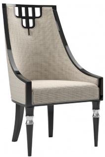 Casa Padrino Luxus Art Deco Esszimmerstuhl Beige / Schwarz / Silber - Handgefertigter Massivholz Küchenstuhl - Edle Art Deco Esszimmer Möbel