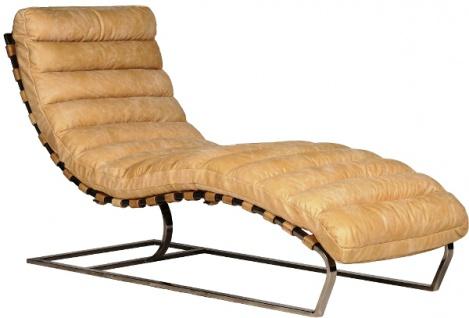 Casa Padrino Luxus Echtleder Lounge Sessel / Liege Beige 140 x 59 x H. 82 cm - Leder Art Deco Relax Sessel