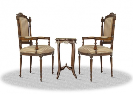 Casa Padrino Barock Wohnzimmerstuhl Set mit Beistelltisch braun / gold / creme / bronze - Antik Stil - Vorschau