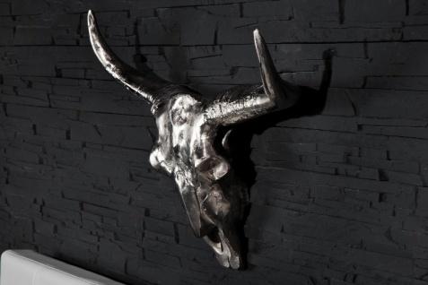 Designer Schädel Matador silber Longhorn Skull H 53 cm, B 63 cm, T 53 cm, edle Skulptur aus Aluminium, Edel & Prunkvoll - Vorschau 2