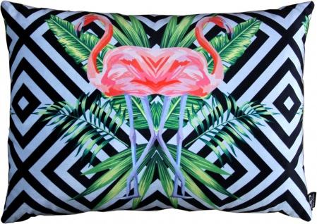 Casa Padrino Luxus Deko Kissen Florida Flamingos Mehrfarbig 35 x 55 cm - Feinster Samtstoff - Dekoratives Wohnzimmer Kissen