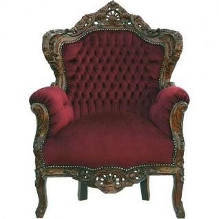 Casa Padrino Barock Sessel King Bordeaux / Braun 85 x 85 x H. 120 cm - Antik Stil Sessel