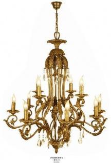 Casa Padrino Luxus Barock Kronleuchter mit echten Glaskristallen Gold Antik-Look, 12 Flammiger Lüster, Durchmesser 98 cm - feinste Qualität